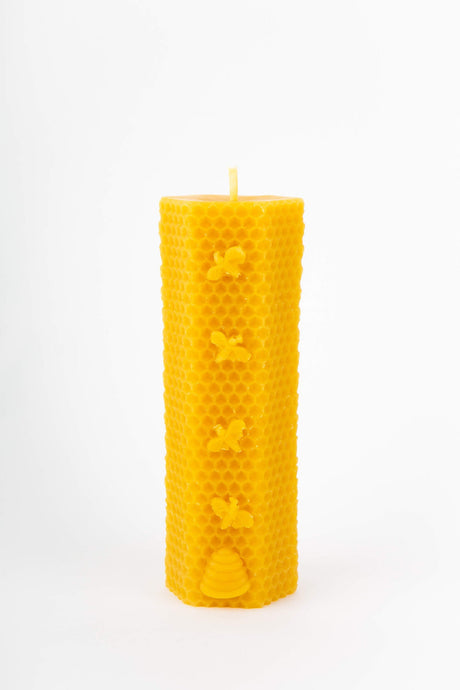 Pure Beeswax Tall Hexagonal Honeycomb With Bees