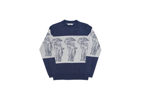 P STATUE KNIT NAVY / WHITE