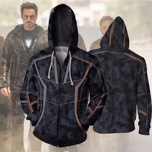 Movie Infinity War Iron Man Tony Stark Hoodie Costumes Sweatshirts Anime 3d Digital Printing Cosplay Zipper Clothing