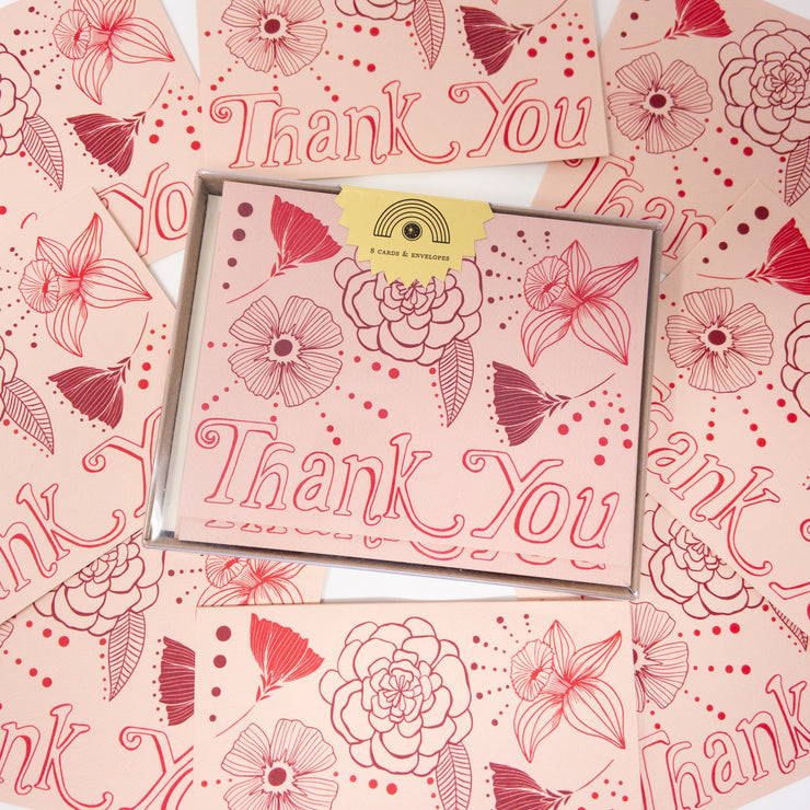 Thank You Pink Flowers Card, Boxed Set (WHOL)