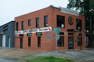 The Lamp Monkey showroom is a historic building built in 1935 located in downtown Humble, TX.