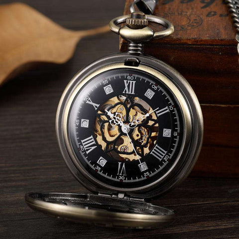 VIntage Mechanical Pocket Watches Bronze Hollow Gear Star Skeleton Steampunk Roman Numerals Hand Winding Watches Fob Clock Chain
