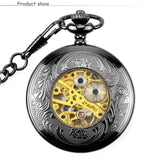 New Items WOONUN Pocket Watch Men Fashion Black Steampunk Skeleton Mechanical Hand Wind Pocket & Fob Watches With Chain Necklace