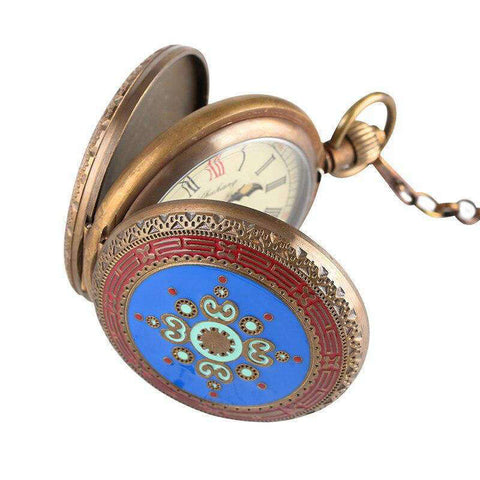 Steampunk Skeleton Mechanical Fob Pocket Watch for Men Pure Copper Skeleton Pocket Watches with Horizontal Phases Moon Sun Clock