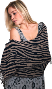 animal stripe thick wool scarf