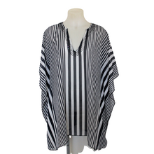 Load image into Gallery viewer, black white striped kaftan plus size