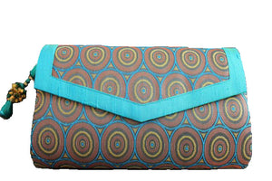 boho clutch bag brocade blue