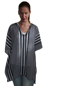 deidaa beaded black white sheer kaftan striped