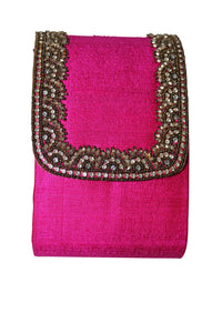 deidaa beaded clutch bag small hot pink