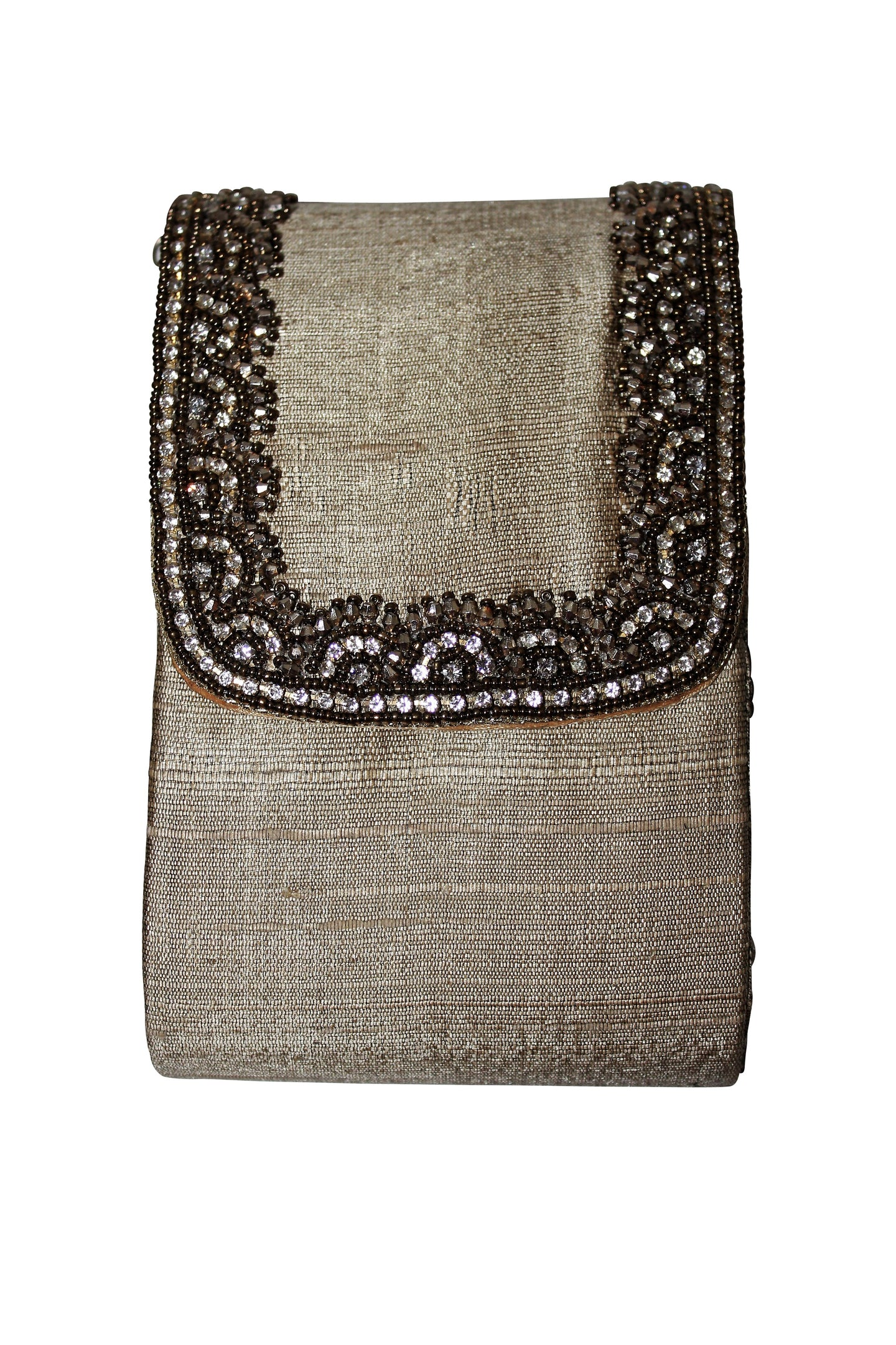 deidaa beige silk beaded clutch purse small