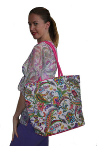 deidaa canvas beach bag paisley print shopping tote