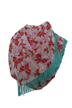 Load image into Gallery viewer, Red White Printed Cotton Scarf