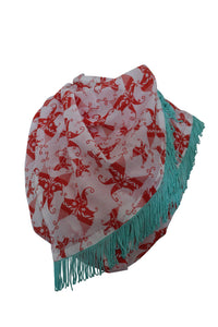 Red White Printed Cotton Scarf
