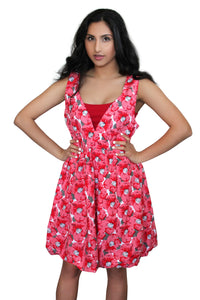 deidaa cotton midi dress floral poppy red