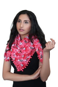 deidaa cotton scarf pompom red floral
