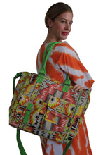 Load image into Gallery viewer, deidaa large beach bag ccanvas shopping tote multicoulour aztec print