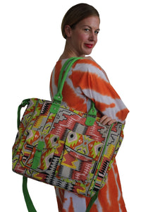 deidaa large beach bag ccanvas shopping tote multicoulour aztec print