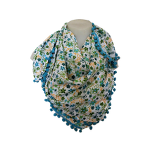 Load image into Gallery viewer, deidaa pompom cotton summer scarf floral blue