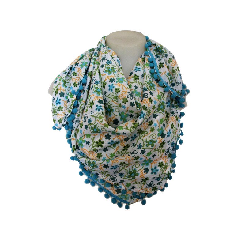 deidaa pompom cotton summer scarf floral blue