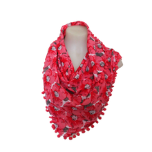 Load image into Gallery viewer, deidaa pompom cotton summer scarf floral red