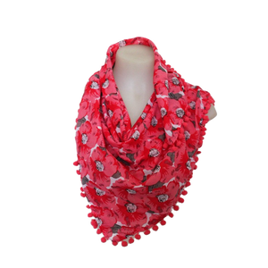 deidaa pompom cotton summer scarf floral red