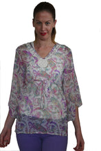 Load image into Gallery viewer, deidaa sheer beach summer kaftan paisley print crochet neckline