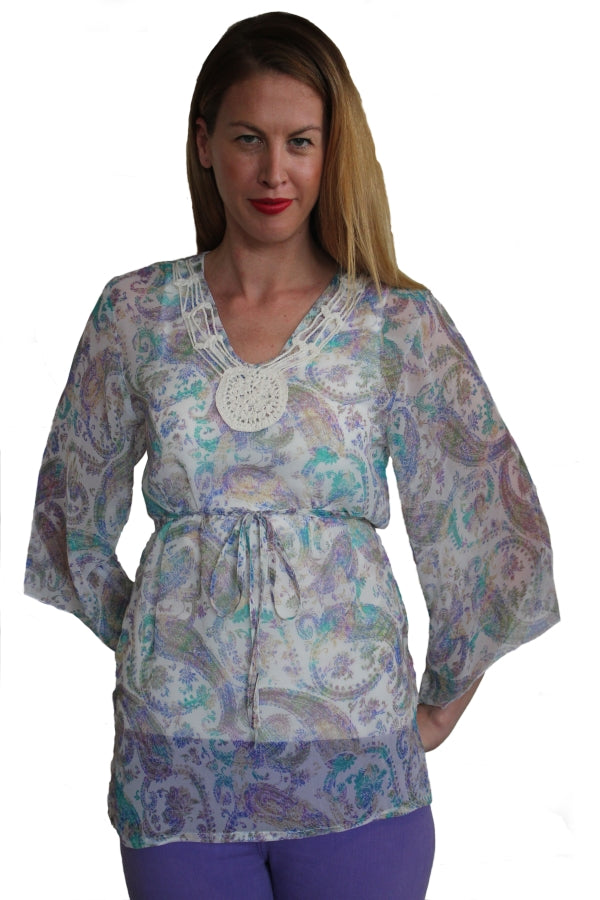 deidaa sheer beachwear kaftan top paisley printed crochet neck