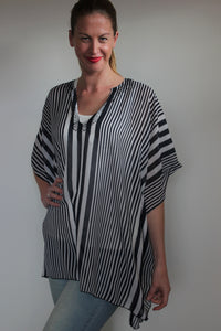 deidaa sheer striped kaftan black white