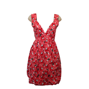 deidaa cotton midi dress floral red