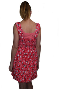 deidaa summer cotton midi dress red floral print