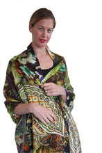 Load image into Gallery viewer, designer silk scarf paisley print