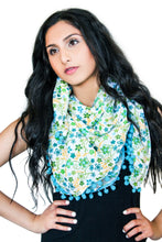 Load image into Gallery viewer, floral cotton scarf pompom blue