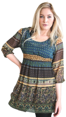 georgette all over print top elasticised waist