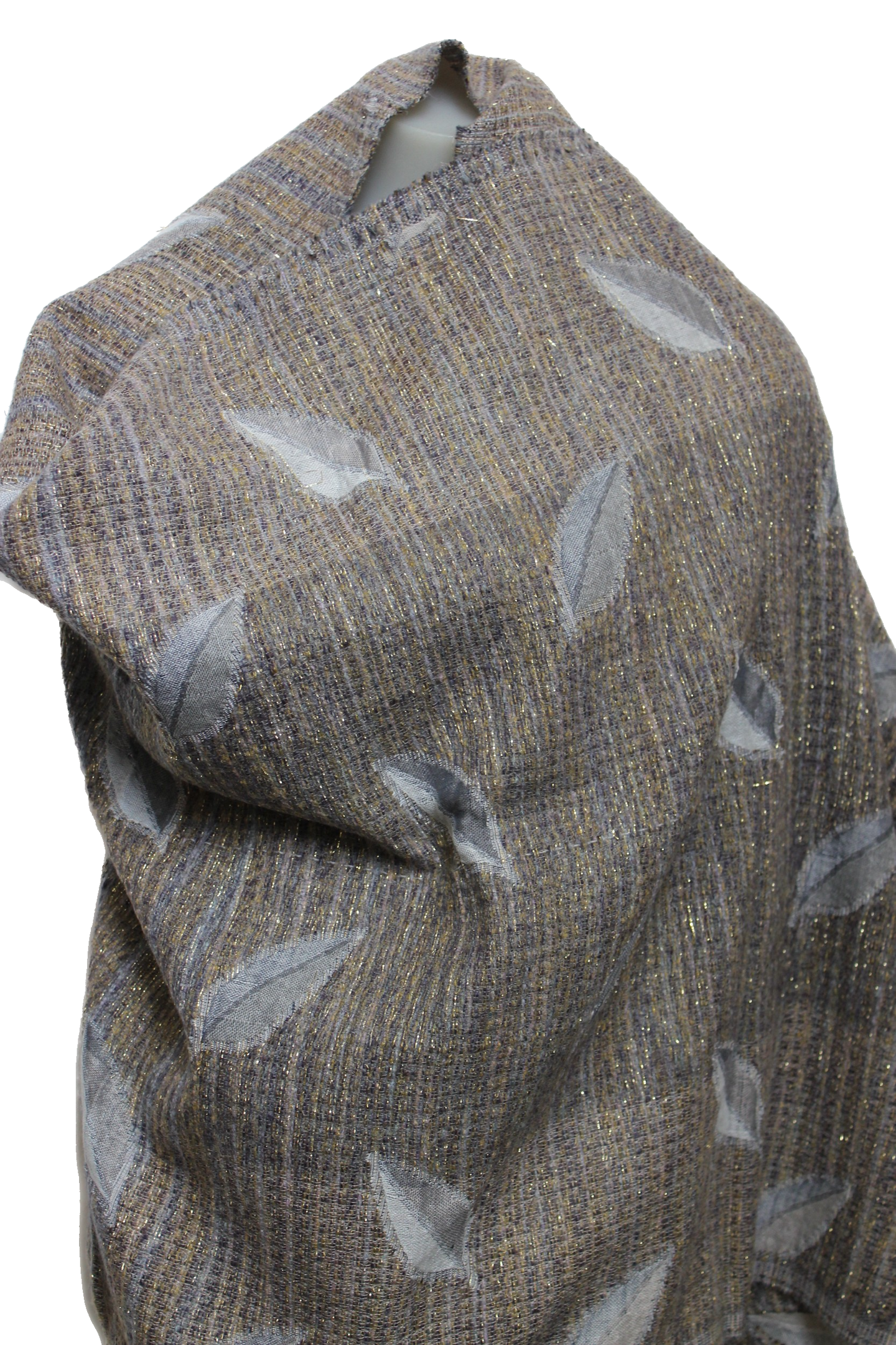 grey lurex wool scarf leaf design