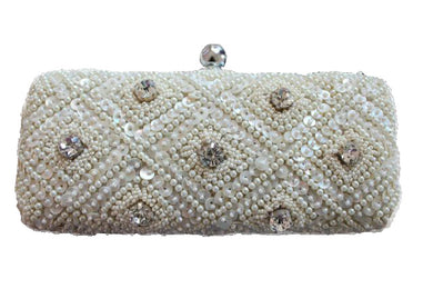 handbeaded bridal bag stone studded optional side sling