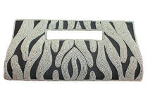 Load image into Gallery viewer, handbeaded clutch bag black silver silk