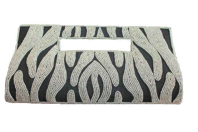 handbeaded clutch bag black silver silk