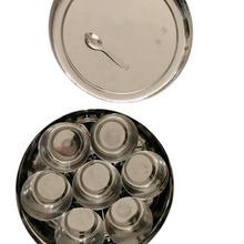 Load image into Gallery viewer, indian spice box masala dabba steel non toxic biodegradable