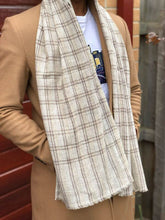Load image into Gallery viewer, mens cashmere scarf beige brown check