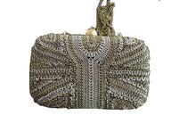 Load image into Gallery viewer, beaded clutch bag metallic evening purse optional side sling