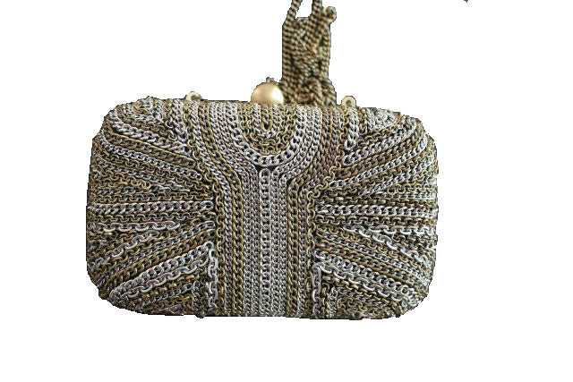 beaded clutch bag metallic evening purse optional side sling