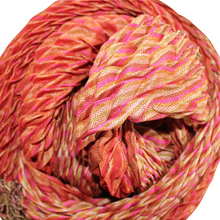 Load image into Gallery viewer, silk wool crinkle scarf red chevron