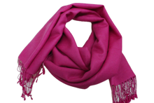 Load image into Gallery viewer, silk wool pashmina hot pink