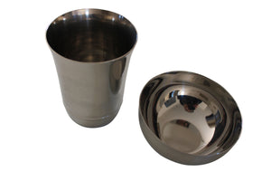 Stainless steel bowl and glass set