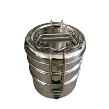 Load image into Gallery viewer, steel tiffin box three tier sustainable eco utensil