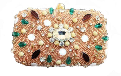 stone studded clutch bag handbeaded party purse pink