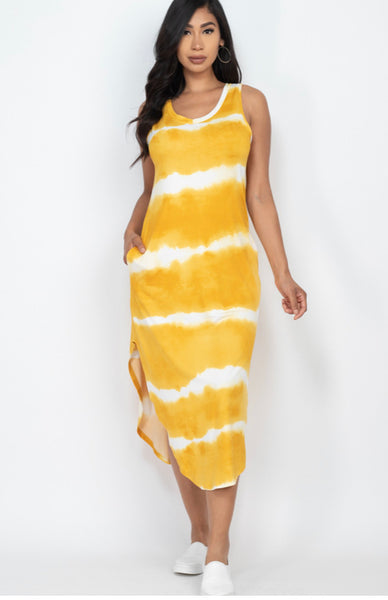 Yellow Tye Dye Dress