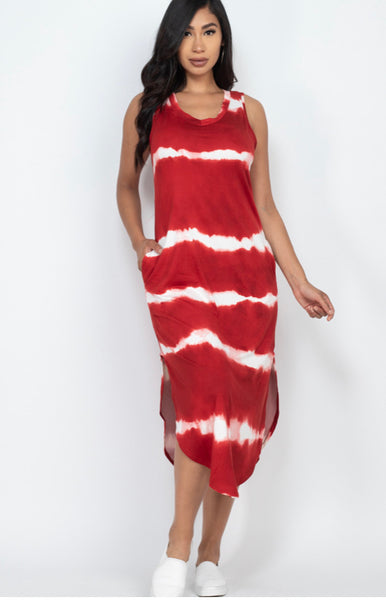 Rusted Red Tye Dye Dress