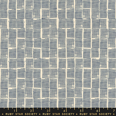 Star Society, Heirloom, Stripe Stamp Blue Stat RS4029-15 puuvillakangas
