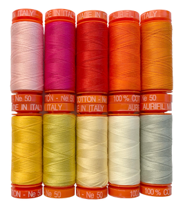 Aurifil Tula Pink Curiouser and Curiouser 50wt ompelulankapaketti